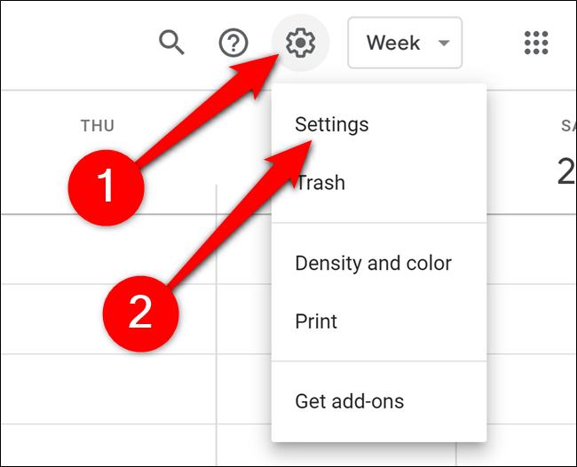 Google Calendar Click Gear and Settings