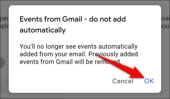 Google Calendar Select Confirmation OK