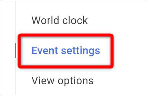 Google Calendar Select Event Settings