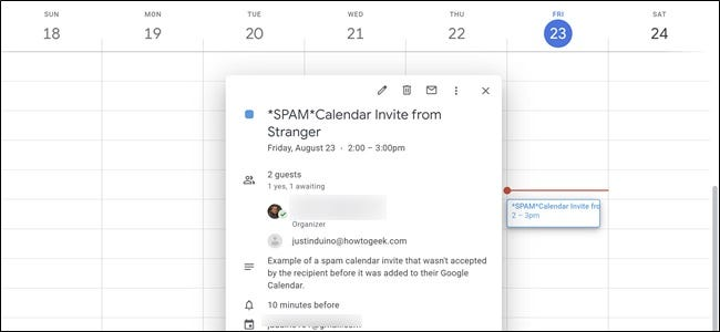 Google Calendar Spam Event