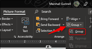 """Click """"Group"""" in the drop-down menu."""