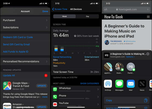 iOS 13 Dark Mode Panels and Tabs With Shadows