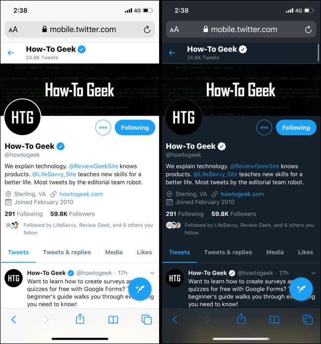 Screenshot showing Twitter in Light mode and Dark mode based on automatic switching in iOS 13