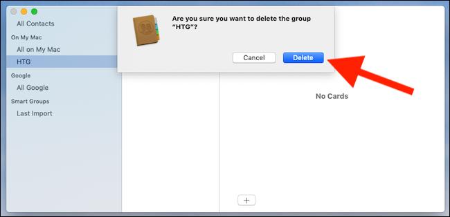 Select a group. Press backspace. Click delete
