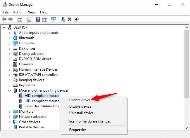 Refresh a mouse Device Manager Device Manager