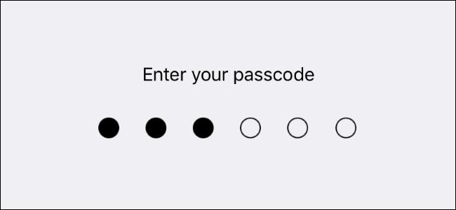 A device passcode screen.