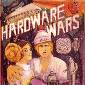 Box artwork for Hardware Wars showing the tongue-in-cheek props and actors