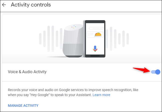 Turning off collection of Google Assistant voice recordings