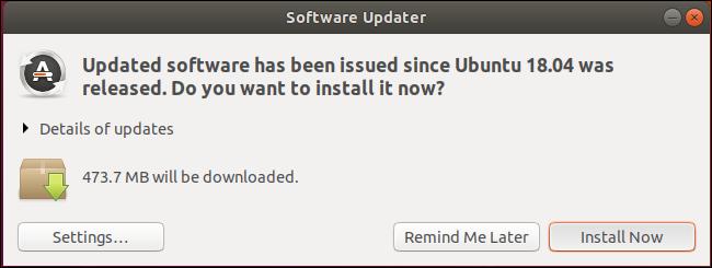 Software Updater application on Ubuntu 18.04
