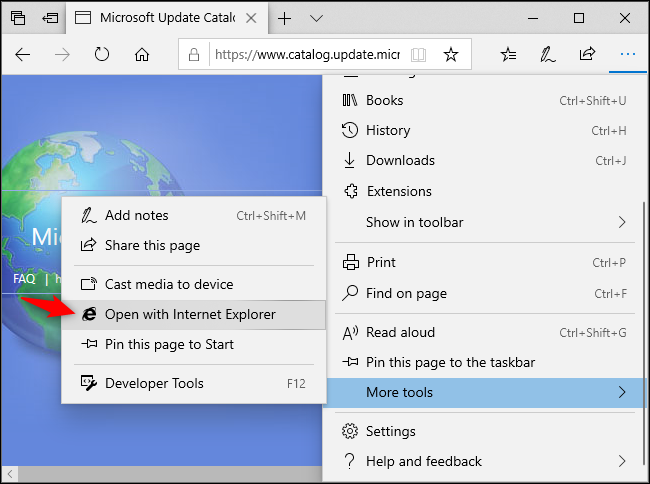 Opening a web page in Internet Explorer from Microsoft Edge.