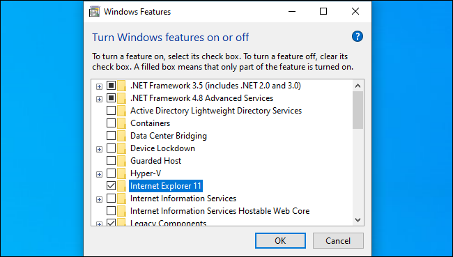Enabling Internet Explorer from Windows Features.