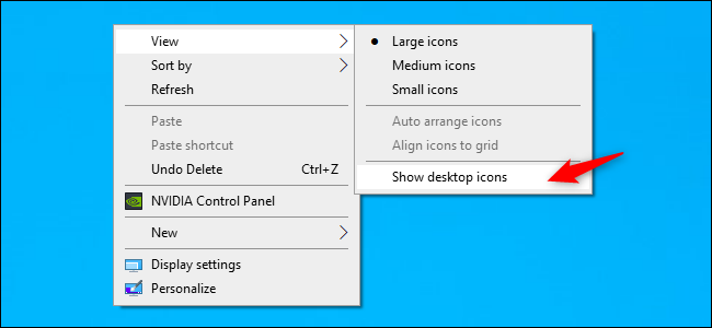 Unhiding desktop icons on Windows 10