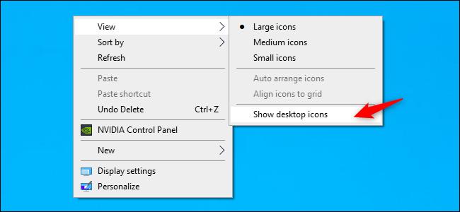 Unhiding desktop icons on Windows 10