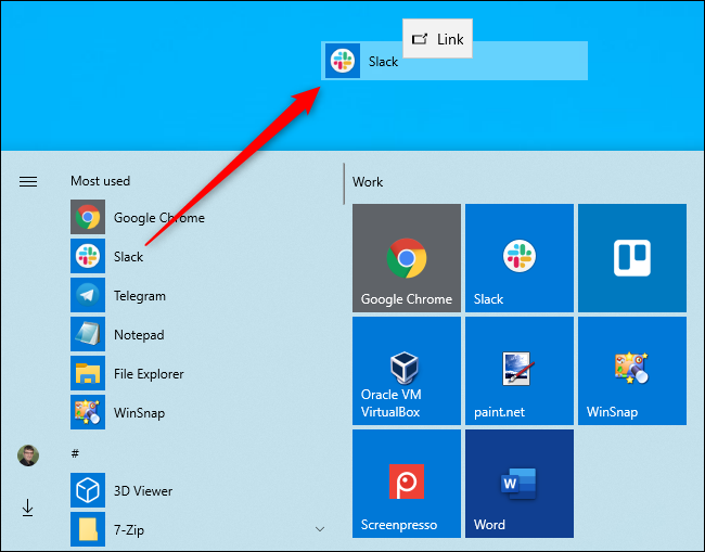 Creating a desktop shortcut from Windows 10's Start menu