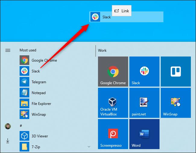 Creating a desktop shortcut from Windows 10's Start menu