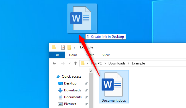 Creating a desktop shortcut from a file in Windows 10's File Explorer