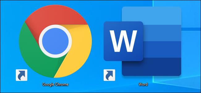 Google Chrome and Microsoft Word desktop icon shortcuts on Windows 10