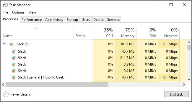 Uso de memoria floja en el Administrador de tareas de Windows.