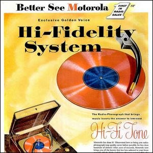 Colorful vintage Motorola advertisement for a hi-fi stereo system