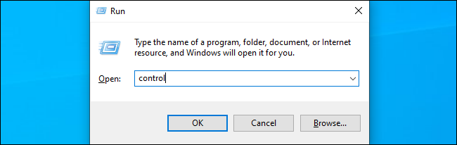Command to launch the Control Panel on Windows 10