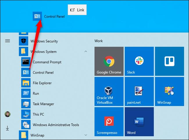 Creación de un acceso directo en el escritorio al Panel de control en Windows 10