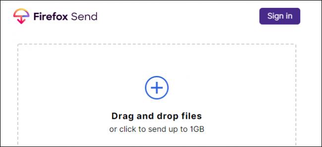 Firefox Send interface