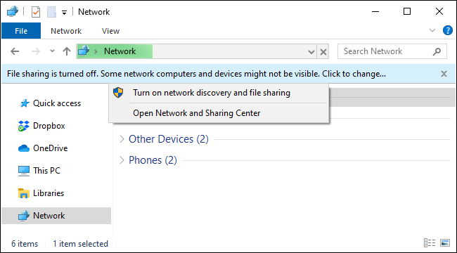 Turning on network file sharing on Windows 10 from File Explorer