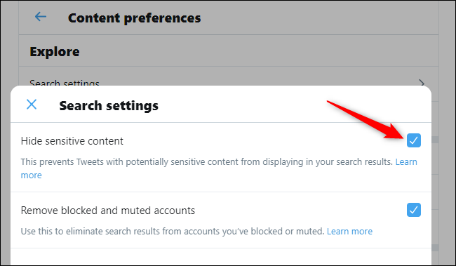 Viewing sensitive content in Twitter searches