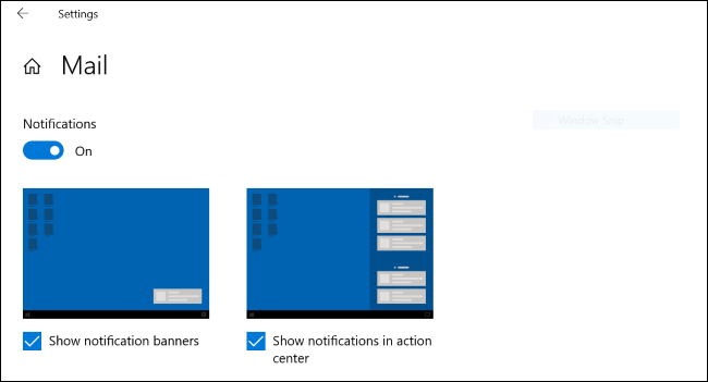 Notification demonstration graphics on Windows 10