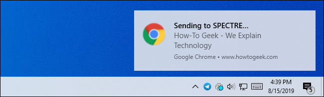 A Windows desktop notification for sending a Chrome tab to another device