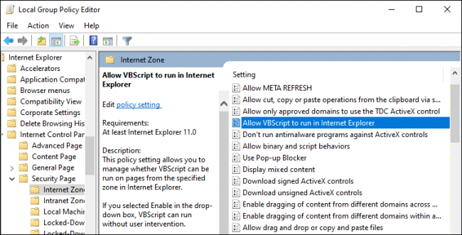 Enabling VBScript in Internet Explorer through Group Policy