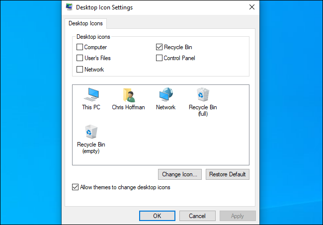 The Windows Desktop Icon Settings dialog