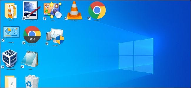 Extra large icons on a Windows desktop