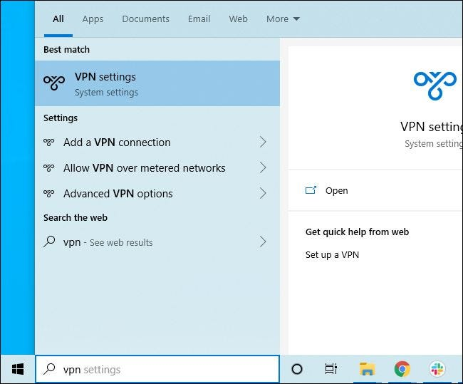 Searching Windows 10's Start menu for VPN settings