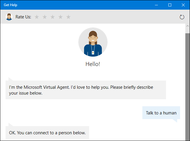 Asking the virtual support agent for a human representative on Windows 10