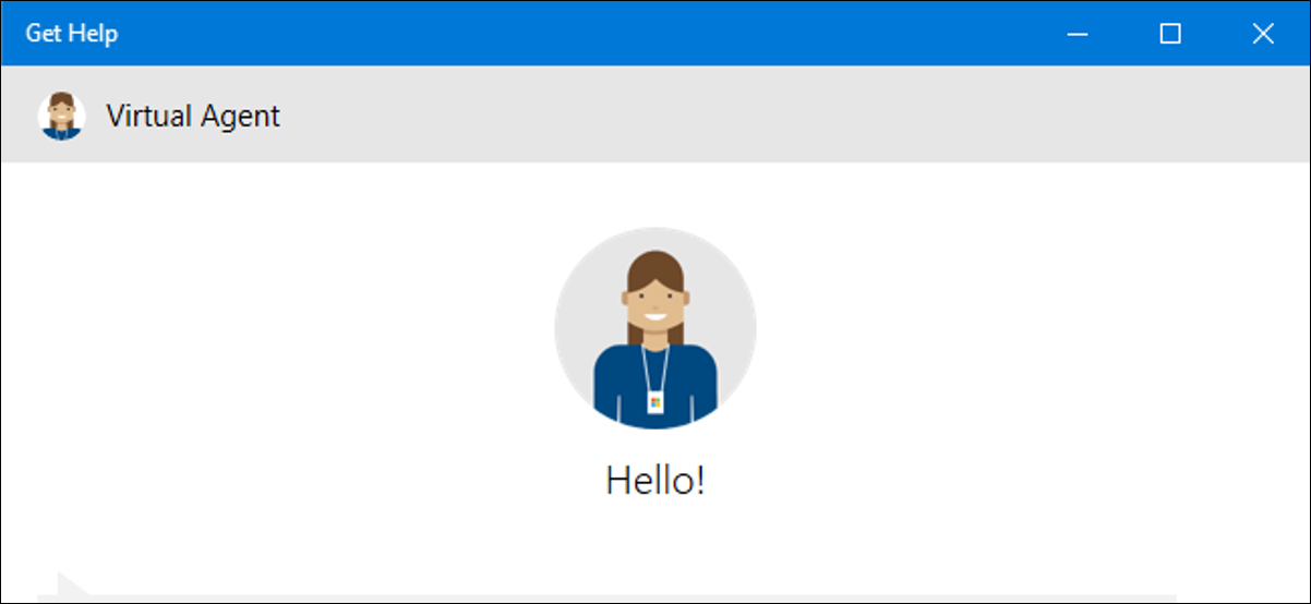 Get Help application showing the Virtual Agent on Windows 10