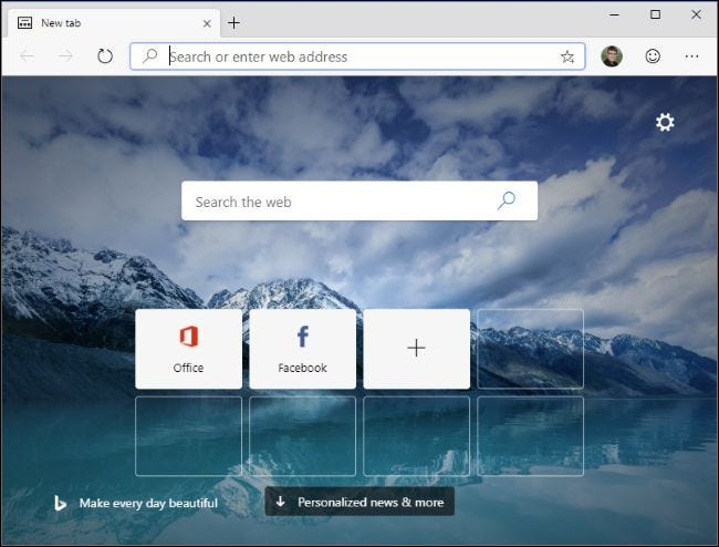The new Microsoft Edge's New Tab page