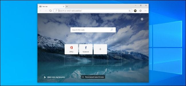 Chromium-based Microsoft Edge browser beta on Windows 10