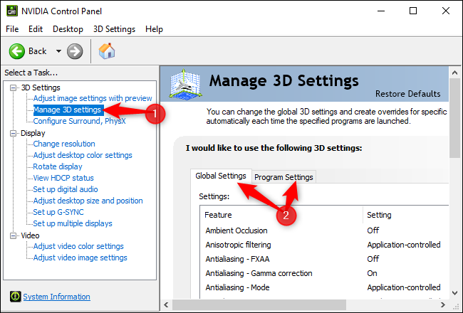 Managing 3D settings in the NVIDIA Control Panel