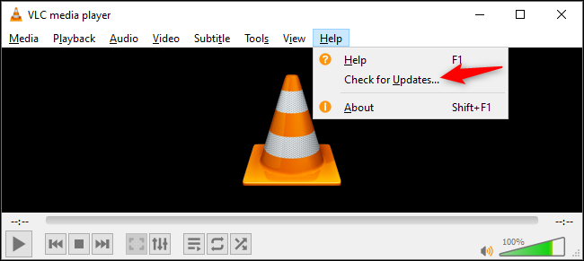 Checking for updates in VLC on Windows