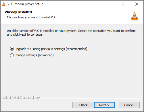 Upgrading VLC with current settings on Windows