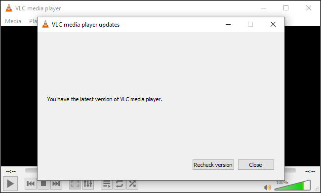 VLC saying you have the latest version