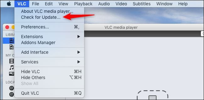 Checking for updates in VLC on a Mac