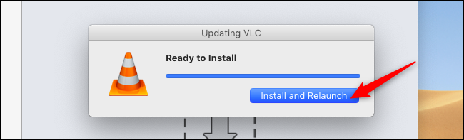 Relaunch VLC after upgrade on a Mac