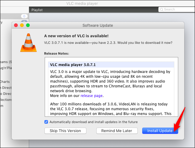 Installing updates in VLC on macOS