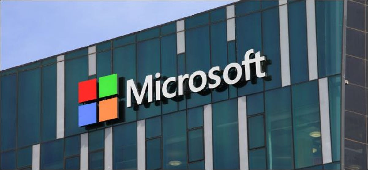 Microsofts logo on a building.