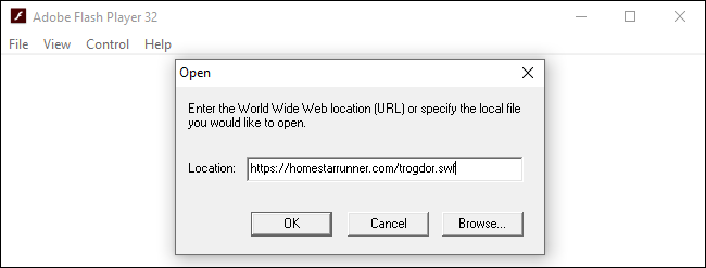 Opening a Flash file from the web in the standalone Adobe Flash Player