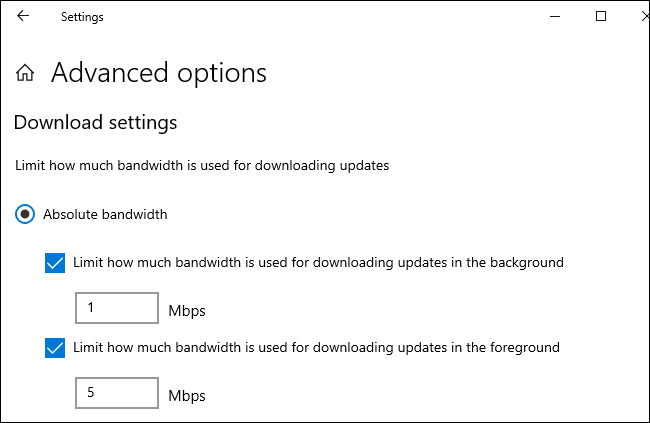 Setting a download and upload limit in Mbps for Windows 10's updates.