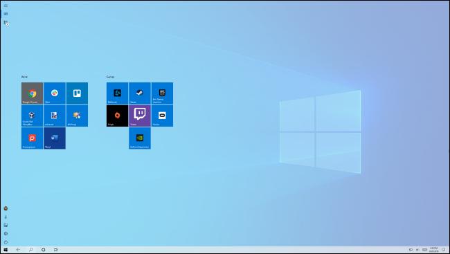 Pantalla de inicio en el modo tableta de Windows 10