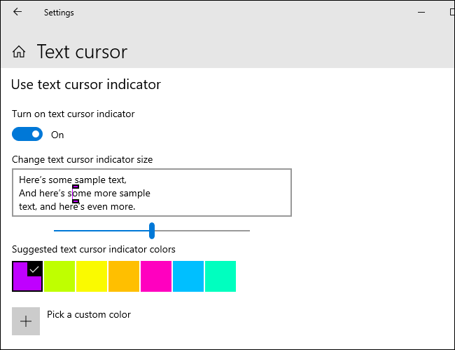 Customizing your text cursor indicator on Windows 10.